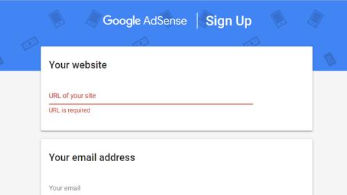 Google Adsense signup form