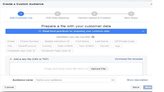Image on how to create custom audience for target audience facebook